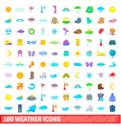 100 weather icons set cartoon style vector