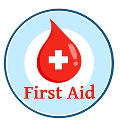First aid blood drop circle vector