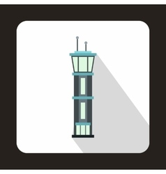 Airport control tower icon flat style vector