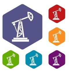 Oil rig icons set vector