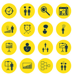 Set of 16 authority icons includes opinion vector