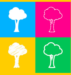 Tree sign  four styles of icon on four color vector
