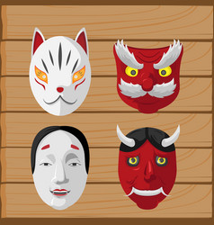Japan culture mask design set vector