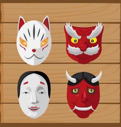 japan culture mask design set vector image