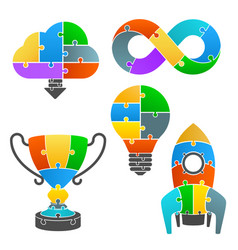 set icons of the puzzle vector image