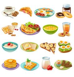 Breakfast brunch menu food icons set vector