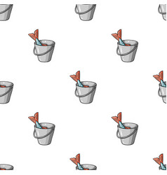 Fish in the bucket icon in cartoon style isolated vector