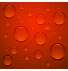 Transparent drop on red surface background vector image