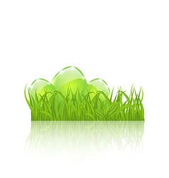 Easter set eggs in green grass isolated on white vector
