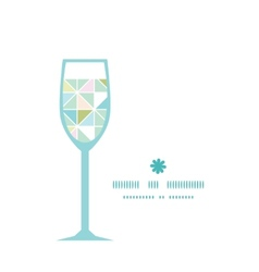 Colorful pastel triangle texture wine glass vector