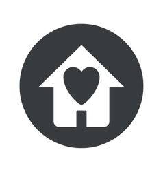 Monochrome round love house icon vector