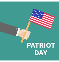 Hand with american flag patriot day background vector