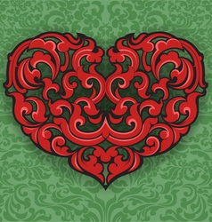 Heart on green pattern vector