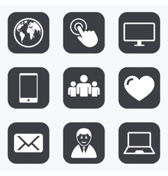 Web mobile devices icons share mail signs vector