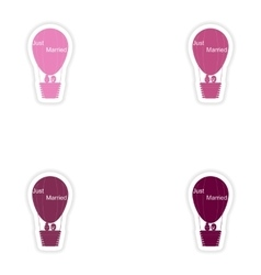 Set paper stickers on white background air balloon vector image