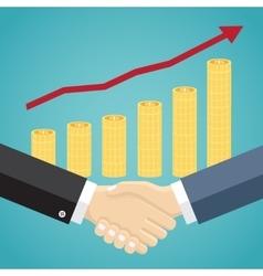 Businessmen handshake in flat design vector image