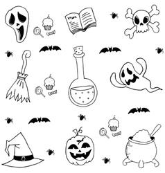 Halloween element in doodle black white vector