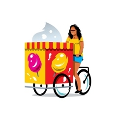 Ice cream cart and woman cartoon vector