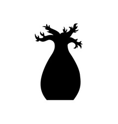 baobab tree silhouette black baobab tree vector image