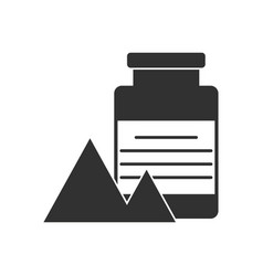 Black icon on white background jar and pyramids vector