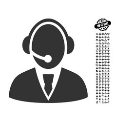 Call center worker icon with job bonus vector