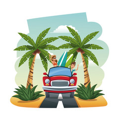 Cartoon couple red car surfboard tropical road vector