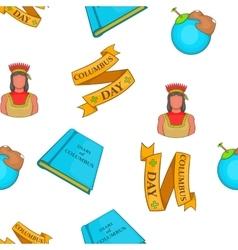 Columbus day symbols pattern cartoon style vector