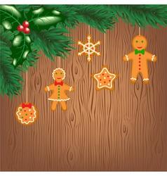 cookies hanging on Christmas tree vector image