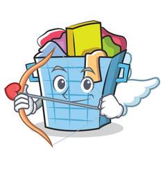 Cupid laundry basket character cartoon vector