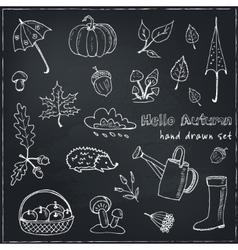 cute hand drawn autumn set vector image