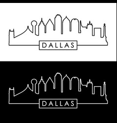 dallas skyline black and white linear style vector image vector image