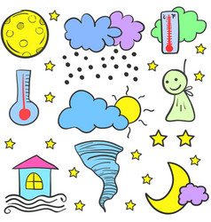Doodle of weather style design vector
