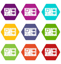 electronic board icon set color hexahedron vector image
