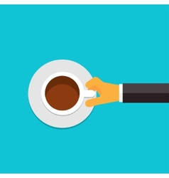 Flat coffee or tea cup in hand vector image