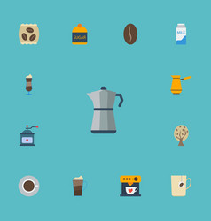 Flat icons paper box moka pot arabica bean and vector