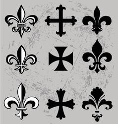 fleur de lis and crosses vector image
