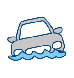 Flooded car for danger weather vector