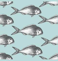 Hand drawn sketch seafood background vector