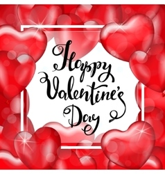Happy Valentine s Day White Frame Red Heart vector image vector image