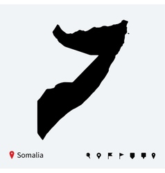 High detailed map of Somalia with navigation pins vector image vector image