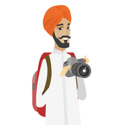Hindu nature photographer with digital camera vector