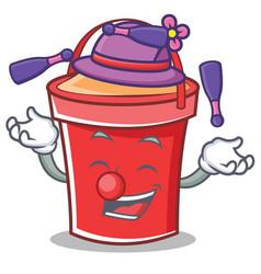 juggling bucket character cartoon style vector image vector image
