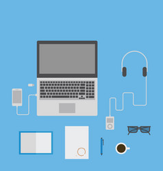 laptop smartphone music player notepad glasses vector image