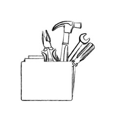Monochrome contour with folder and hand tools vector