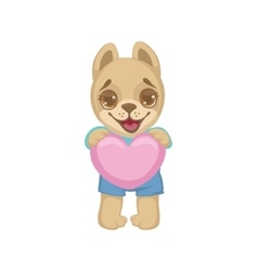 Puppy Holding A Pink Heart vector image vector image