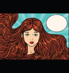 Sad young woman with long beautiful hair vector