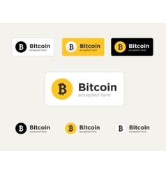 Set of the bitcoin accepted stickers vector
