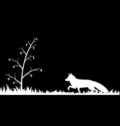 Silhouette of fox in the grass vector