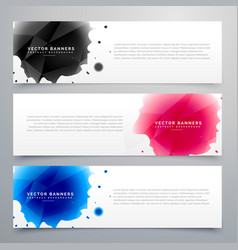 three ink drop banners card vector image vector image