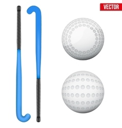 Two classic sticks and balls for field hockey vector